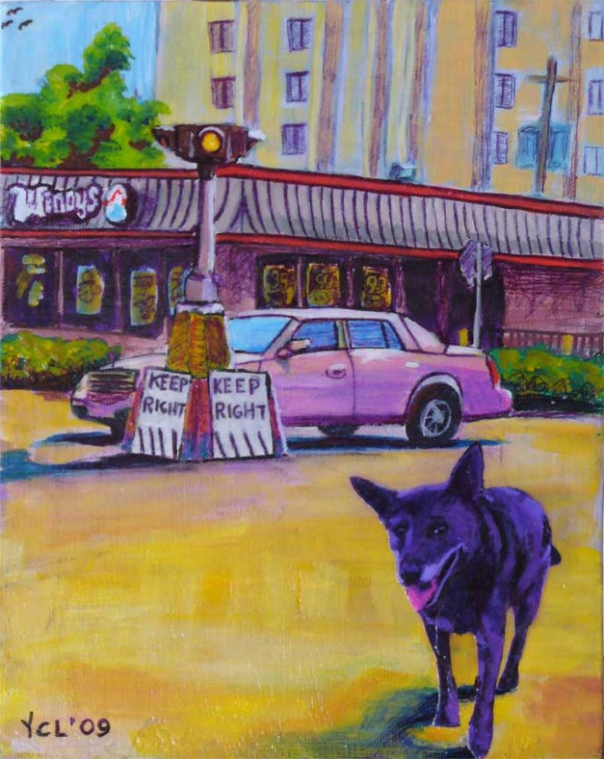 """FLORIDA DINGO SPOTTED IN 5 PTS 8""""x10"""" mixed media on canvas"""