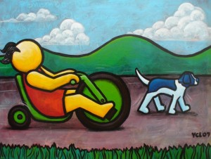 "Price  $945.- ""I Remember My Big Wheel"" 30""x40"" acrylic on canvas"