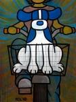"Price $945. - Bike Basket Adventure 30""x40"" mixed media on canvas ©2010"