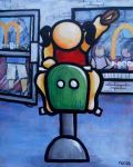 """Price $560. """"I Remember a Cheeseburger & a Fry Guy"""" 24""""x30"""" acrylic on canvas"""