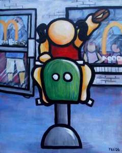 "Price $560. ""I Remember a Cheeseburger & a Fry Guy"" 24""x30"" acrylic on canvas"