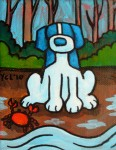 """Price $45.50. """"Return of the Crab"""" 4""""x5"""" acrylic on canvas."""