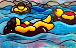 """Price $665. """"We Floated"""" 24""""x36"""" acrylic on canvas."""