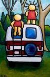 "Price  $665. ""I Remember the Van"" acrylic on canvas. 24""x36"""