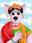 """The Dingo Pays Homage to Frida Kahlo- 9""""x12"""" watercolor on paper"""