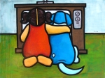 """Price $945. -Quality Time- TV Time. 40""""x30"""" mixed media on canvas"""