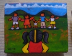 """Price $45.50. -Red Rover, 5""""x4"""" mixed media on canvas"""