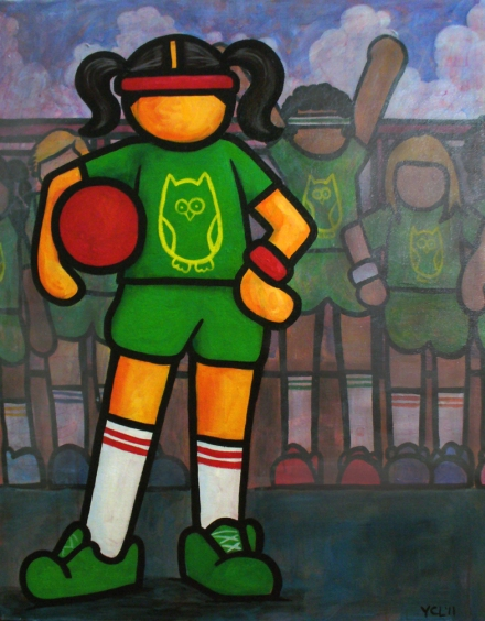 "Are You Ready For Some Kickball?! 28""x22"" acrylic on canvas"