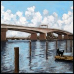 "SOLD- The Dingo Sees the Acosta Bridge. 8""x8"" mixed media on canvas."
