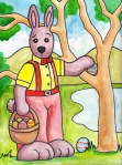 """The Dingo Starring as the Easter Bunny"" 9""x12"" watercolor on paper"