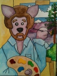"""The Dingo Starring as Bob Ross..."" 9""x12"" watercolor on paper"