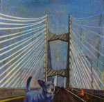 "SOLD-The Dare Devil Dingo Crosses the Dames Point Bridge 8""x8"" mixed media painting on canvas"