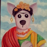 """The Dingo Starring As Frida Kahlo"" 9""x12"" watercolor on paper"