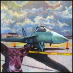 "NOT FOR SALE-The Dingo Visits NAS JAX 8""x8"" mixed media painting on canvas"