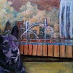 "SOLD-The Dingo Loves Friendship Fountain 8""x8"" mixed media painting on canvas"