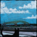 "SOLD-The Dingo Sees the Hart Bridge 8""x8"" mixed media on canvas"