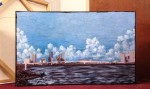 "Price $1,015. - The Dingo Enjoys the View of the Acosta Bridge. Apprx. 25""x50"" mixed media on canvas."