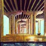 "Price $525. - The Dingo Under the Bridge II apprx. 26""x36"" mixed media on canvas"