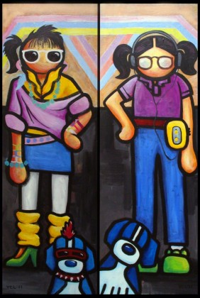"Image to the left: This is How I Wanted to Dress in the 80s.  Image to the right: But, This is How I Really Dressed in the 80s acrylic on canvas 24""x36"" (2 panel) ©2011"