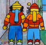 """Price $87.50. """"Baby, It's Cold Outside!"""" 8""""x8"""" acrylic on canvas."""