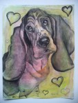 "Price  $70.  Bassett Love. 9""x12"" original mixed media drawing on paper"
