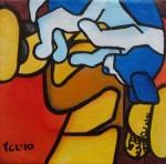"Price $52.50.  ""The Box""  mini painting. Acrylic on canvas. 5""x5"""