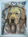 """Price $70. Lab Love. 9""""x12"""" original mixed media drawing on paper"""