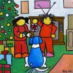 "Price $87.50. ""Merry Christmas Snoopy!!"" 8""x8"" acrylic on canvas."