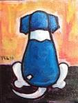 "Price $45.50 ""Waiting: mini painting"" 4""x5"" acrylic on canvas."