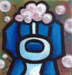 "Price $45.50.  ""Bubbles"" 5""x5"" acrylic on canvas."