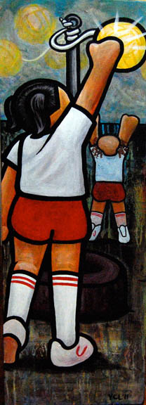 "$350- Tetherball is Easier When You're Taller Than Your Opponent. 18""x36"" acrylic on canvas"