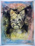 """Price  $70. - Yorkie Love. 9""""x12"""" original mixed media drawing on paper"""