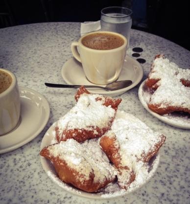 Beignets and cafe au lait from Cafe Du Monde
